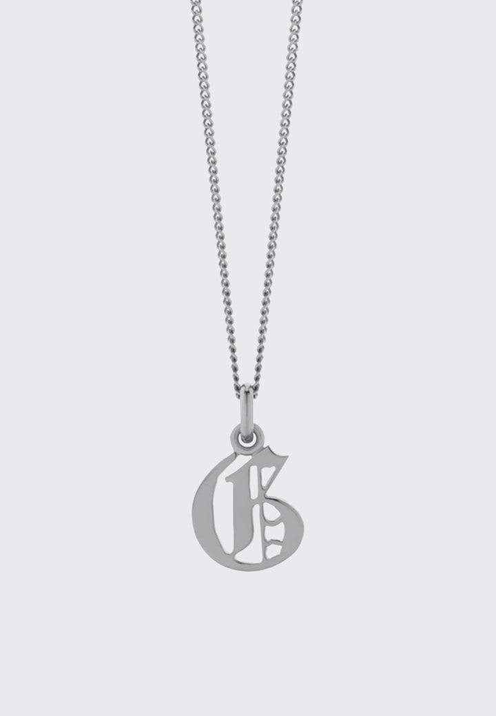 Small Capital Letter Necklace - silver G