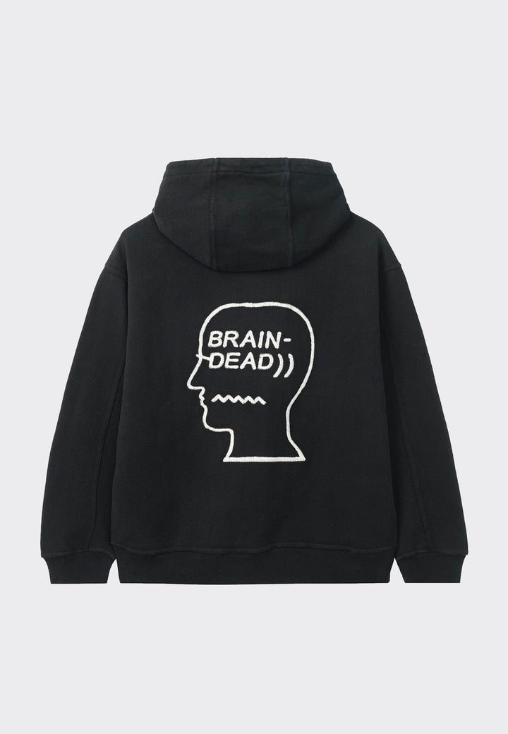 Speed Text Embroidered Logo Hoodie- black