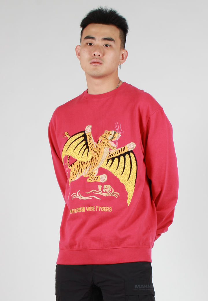 Wise Tygers Embroidered Sweater - infrared
