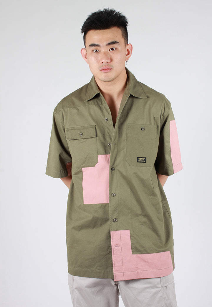Maharishi Patchwork Short Sleeve Shirt - maha olive multi