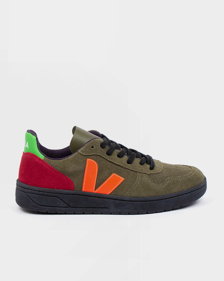 V10 Bastille Suede Leather - olive/multico fluo/black
