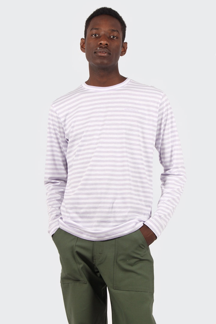 James Logo Stripe Long Sleeve T-Shirt - heather