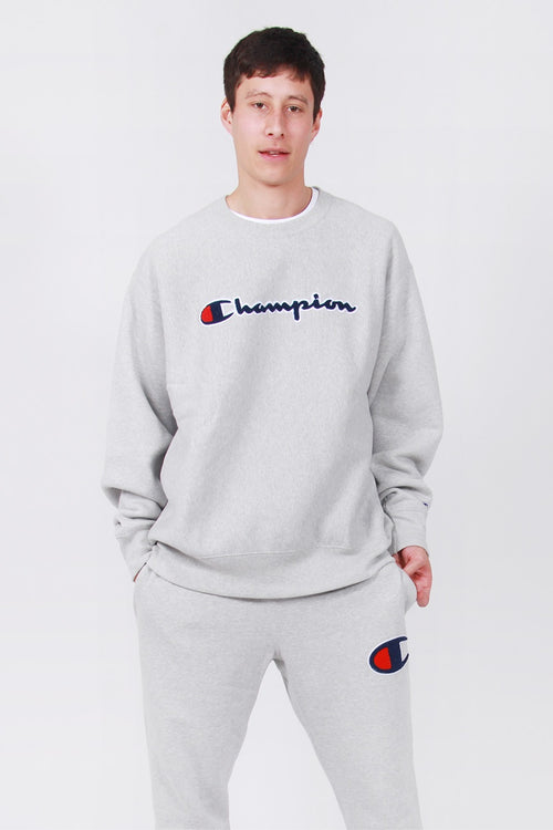 Champion Reverse Weave Chenille Script Crew - oxford grey – Good as Gold
