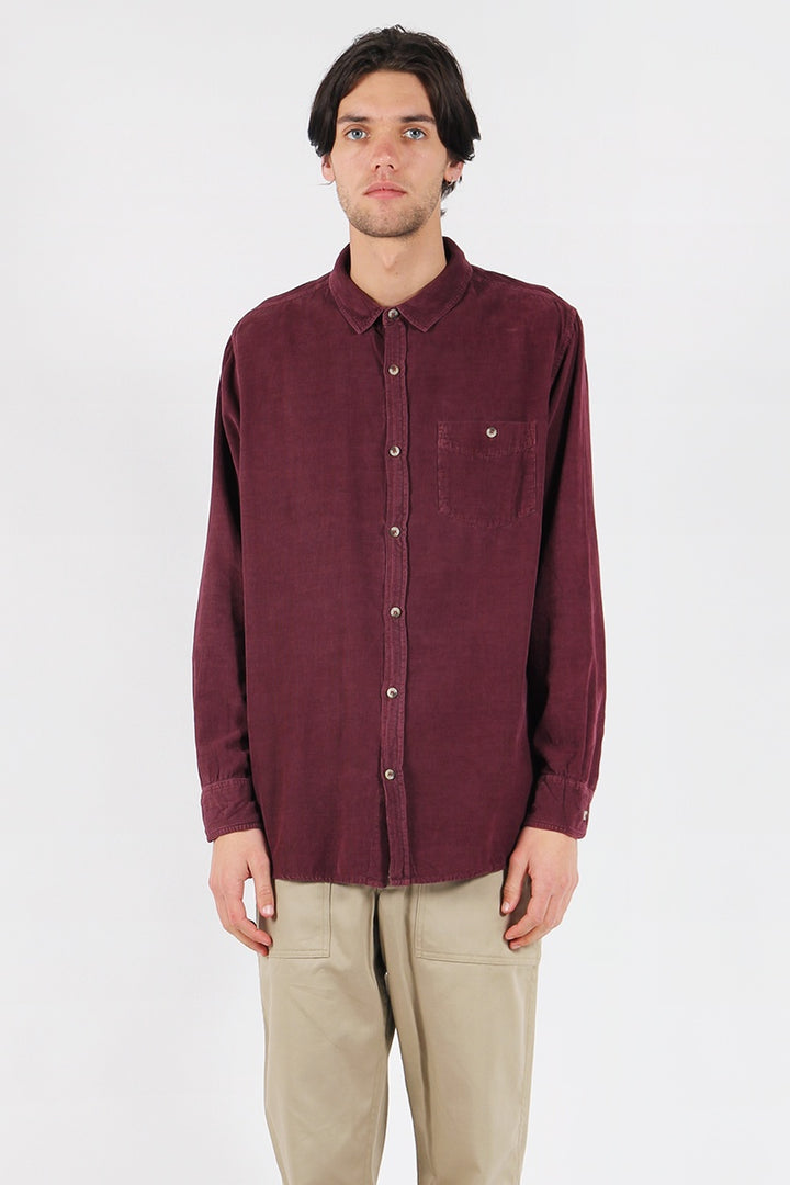 Men At Work Cord Shirt - burgundy