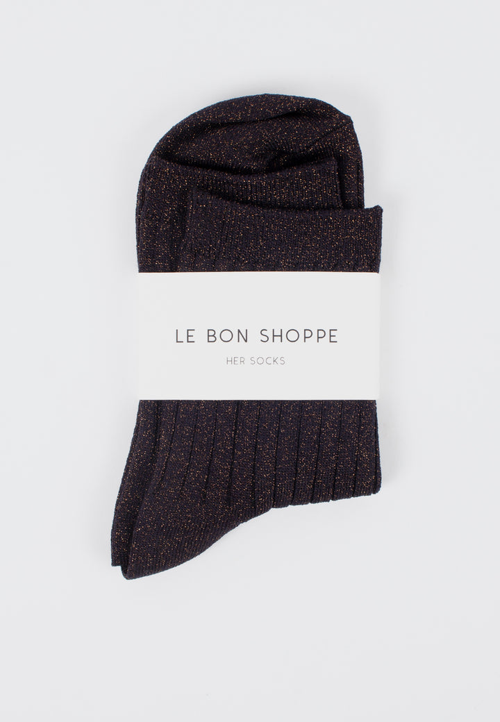 Le Bon Shoppe | Her Socks Lurex - Copper Black | Good As Gold, NZ