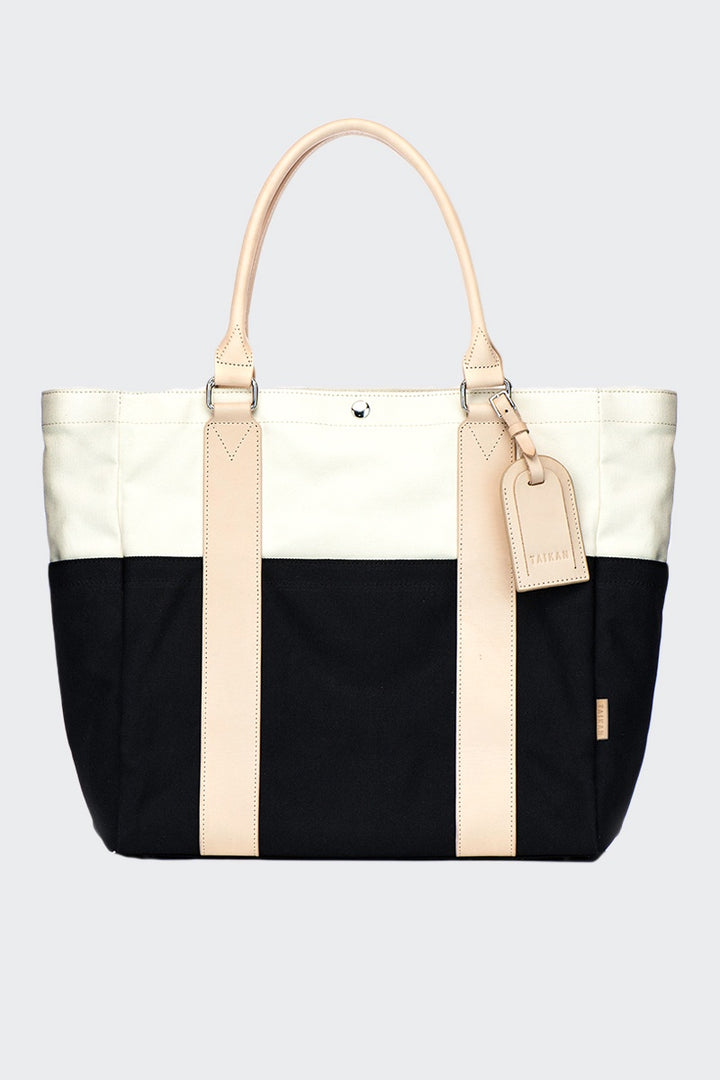 Taikan Everything Sherpa Tote Bag - black/off white/veg tan leather | GOOD AS GOLD | NZ