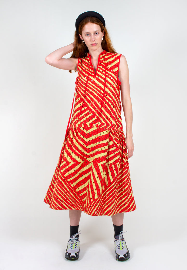 Verner | Broderie Dress Continuity Print - yellow/red | Good As Gold, NZ