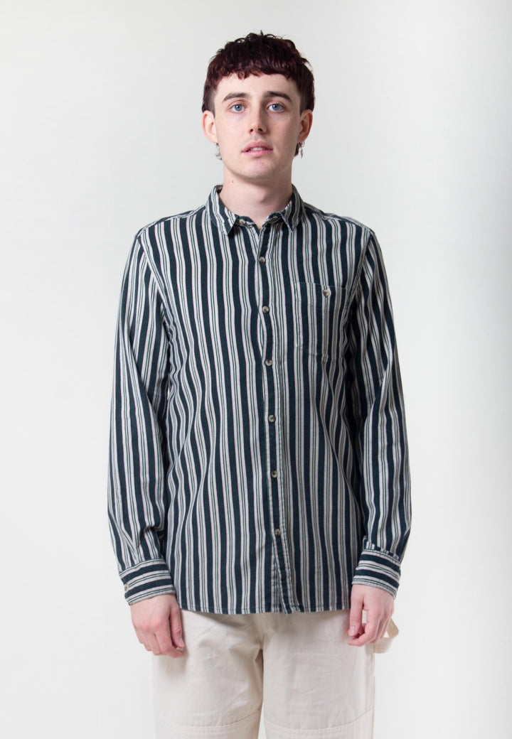 Men At Work Cord Shirt - forest stripe/natural/green