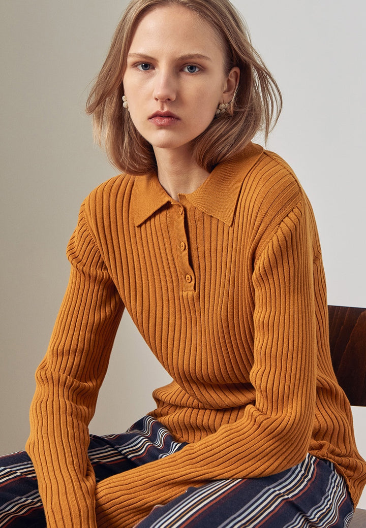 Kowtow Rib Polo Sweater - amber - Good As Gold