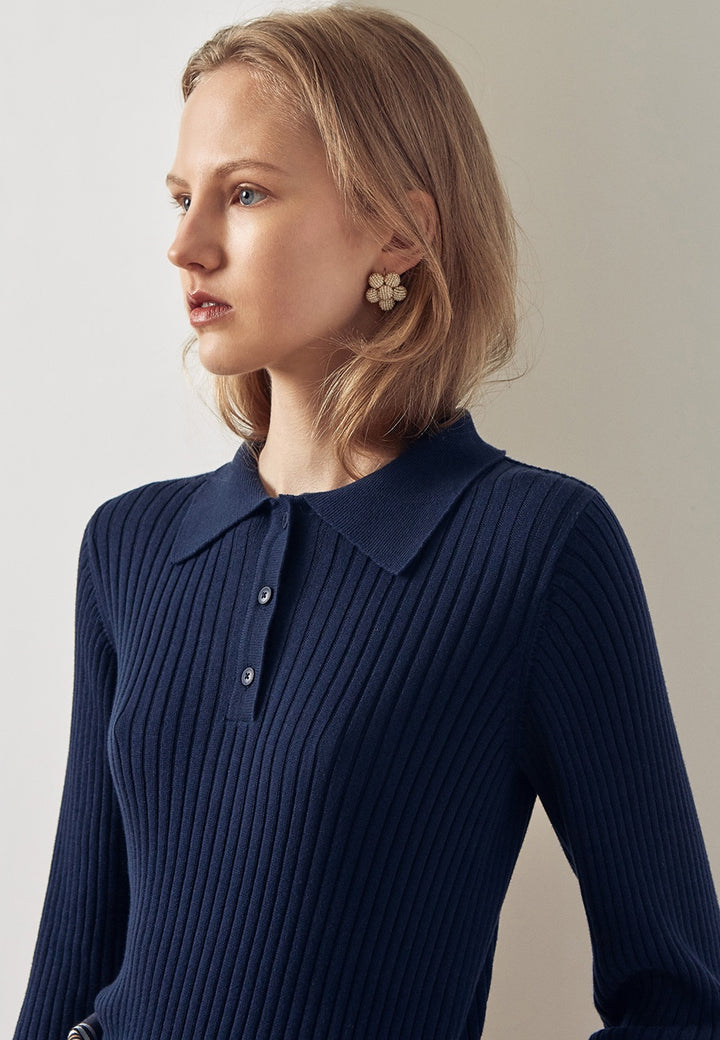 Kowtow Rib Polo Sweater - navy - Good As Gold