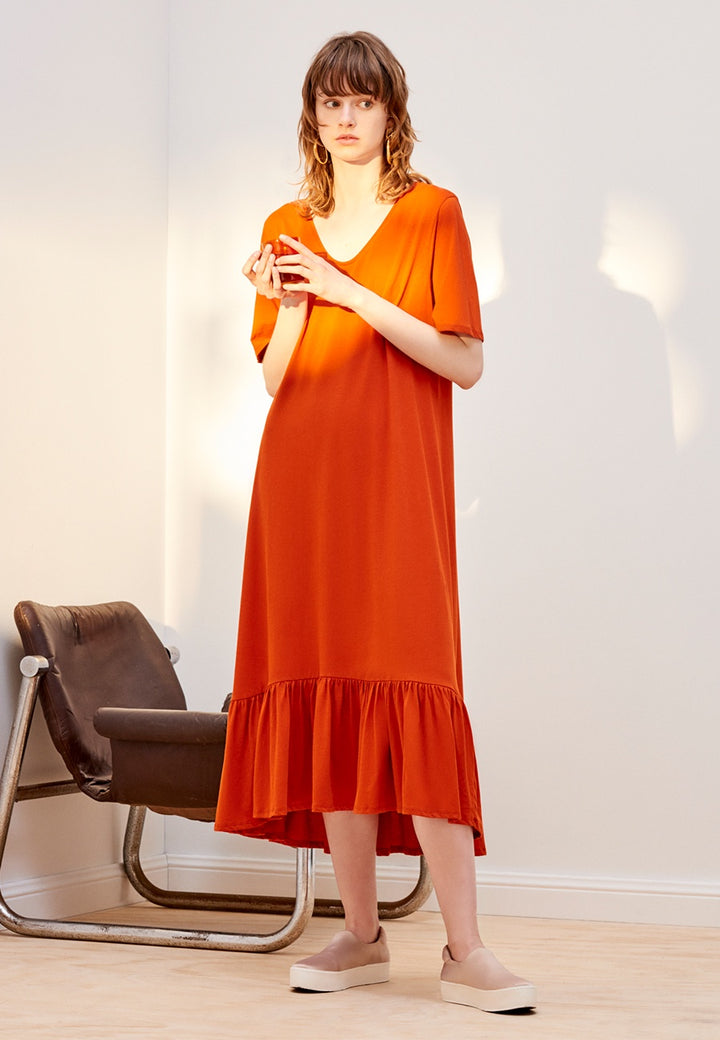 Building Block Gather Hem Dress - burnt orange
