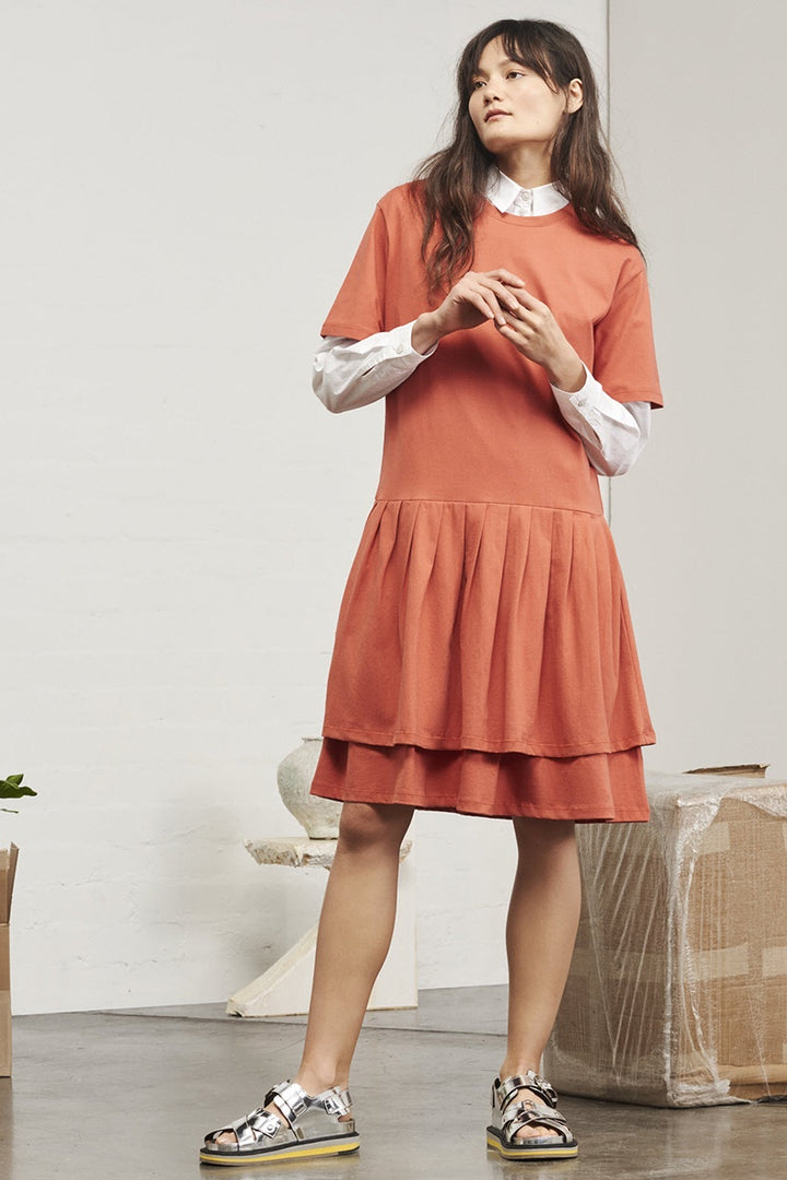 Building Block Pleated Skirt Dress - peach