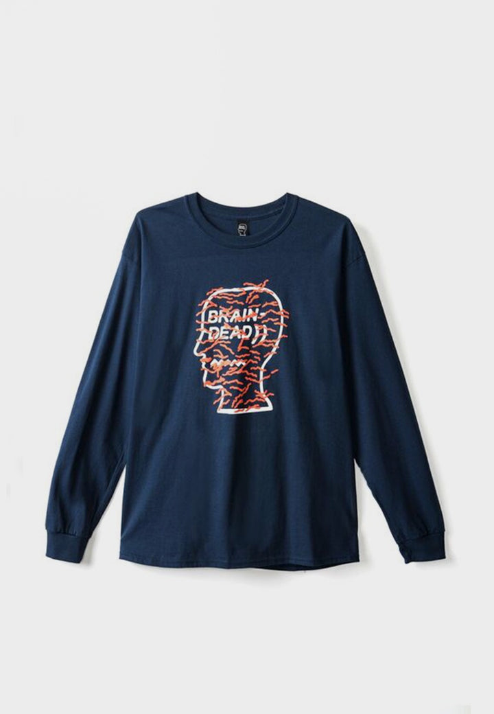 Brain Dead Infected Long Sleeve T-Shirt - navy - Good As Gold