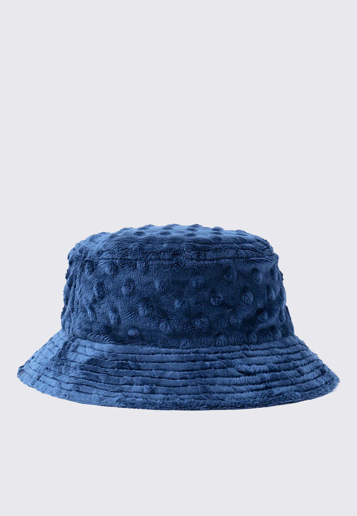 Embossed Fur Bucket Hat - navy