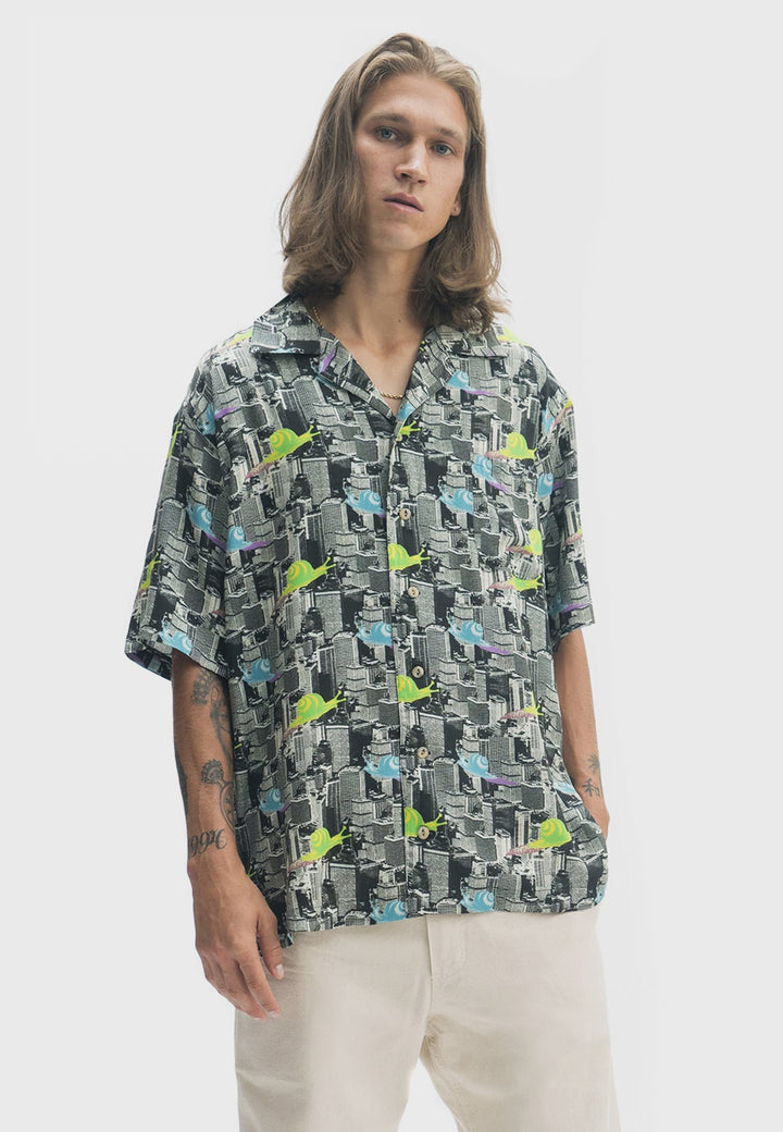 Snail Print Short Sleeve Shirt - multi