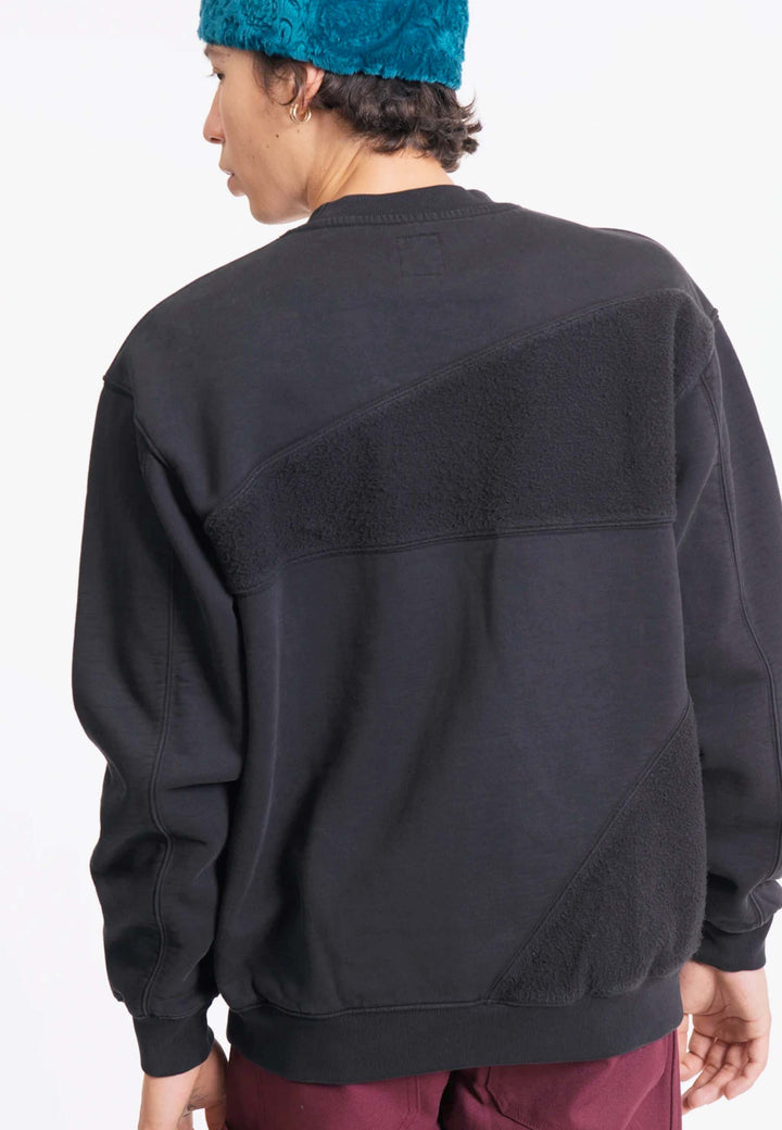 Sunflower Asymmetrical Panelled Crewneck - black