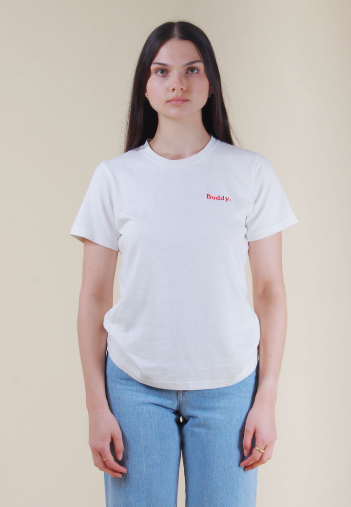 Embroidered Classic Hemp T-Shirt - white/red