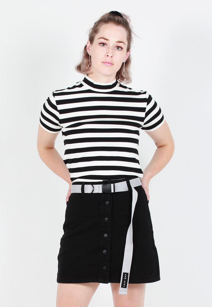 Lazy Oaf LO Big Stripe Fitted T-Shirt - black/white - Good As Gold