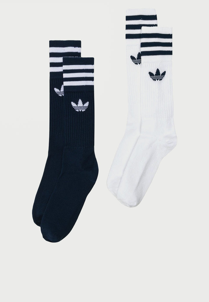 Solid Crew Socks 2pack - blue/white