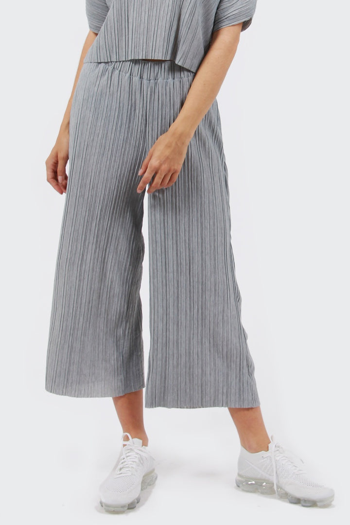 Native Youth Pinnacles Pleated Culotte - grey | GOOD AS GOLD | NZ