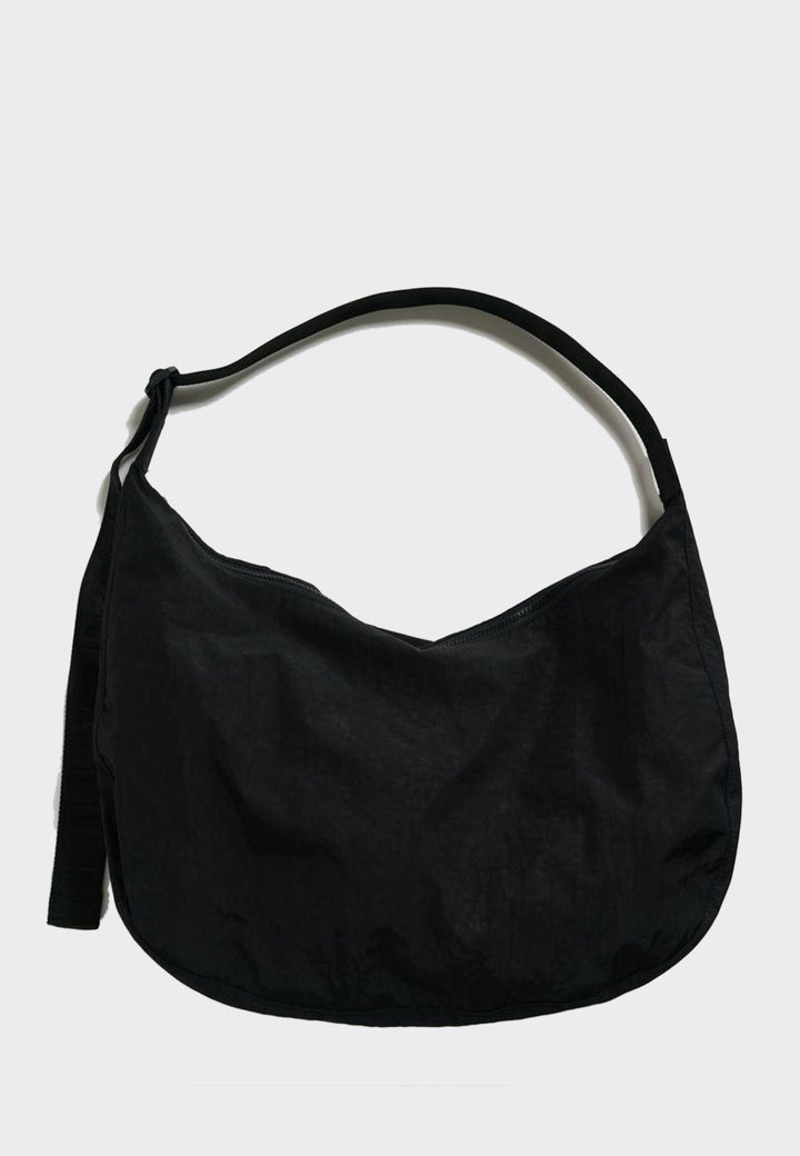 Large Nylon Crescent Bag - black