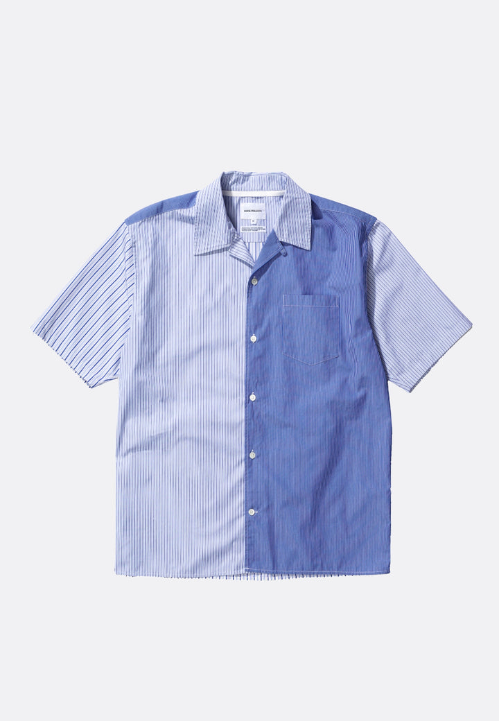 Carsten Poplin Shirt - mixed stripe navy