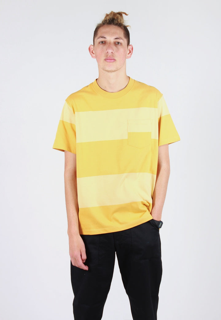 Norse Projects Johannes Block Stripe T-Shirt - sunwashed yellow - Good As Gold