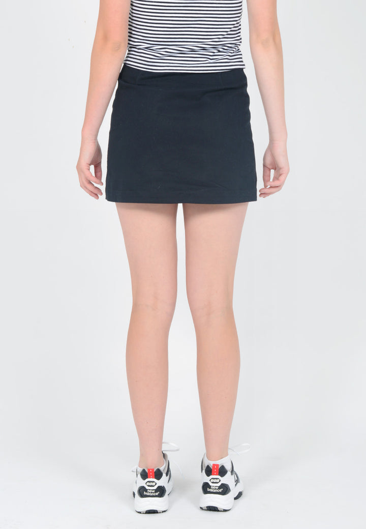 Button Up Mini Skirt - black