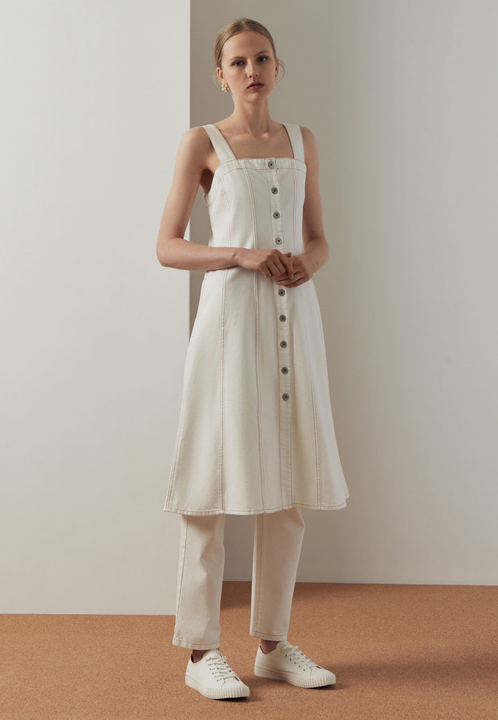 Kowtow Panel Denim Dress - ecru — Good as Gold
