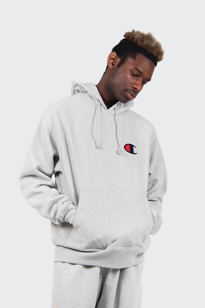 Champion Reverse Weave Big Logo Hoodie - oxford grey | GOOD AS GOLD | NZ