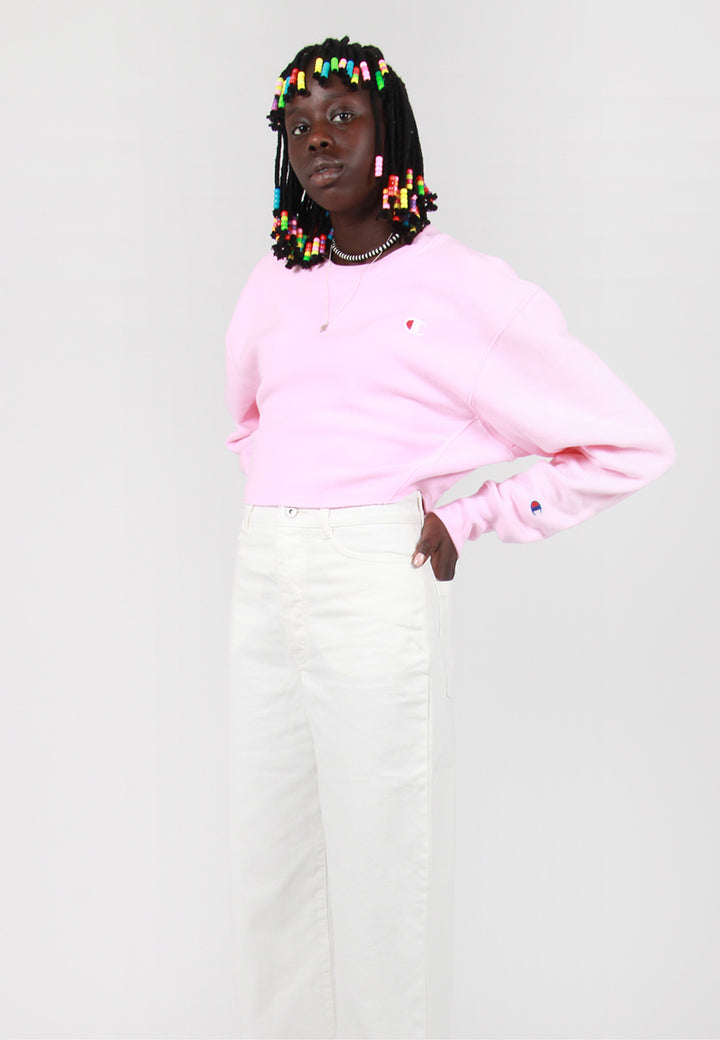 Champion W Reverse Weave Cropped Sweater - candy pink