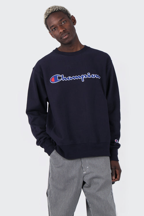 Champion Script Logo Reverse Weave Crew - navy | GOOD AS GOLD | NZ