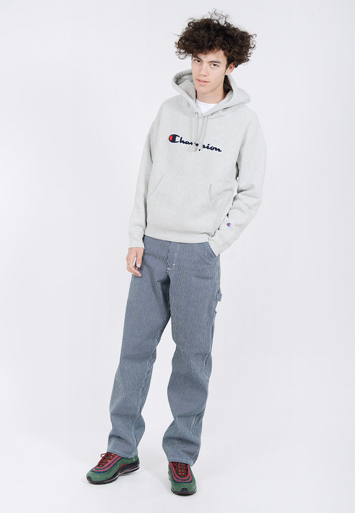 Champion Reverse Weave  Chenille Script Hoodie - oxford grey