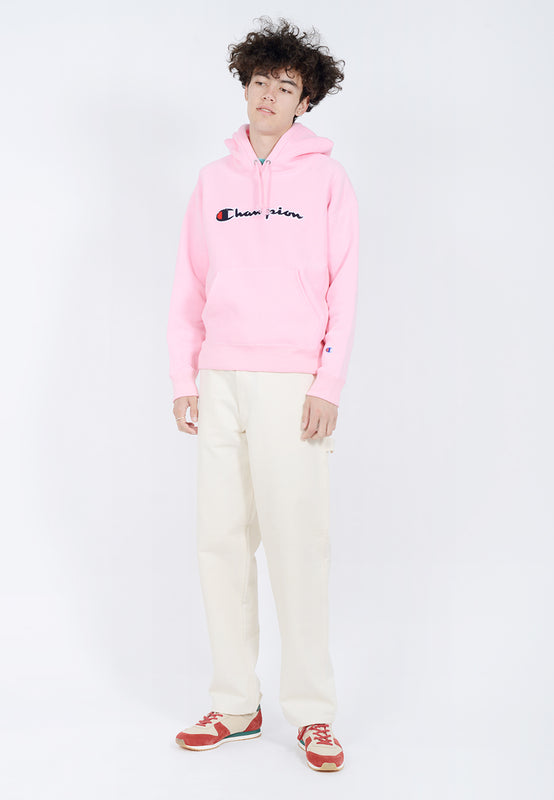Champion Reverse Weave  Chenille Script Hoodie - candy pink