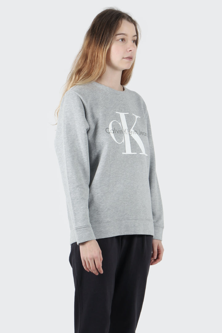 Calvin Klein Vintage Logo Sweater - light grey heather | GOOD AS GOLD | NZ