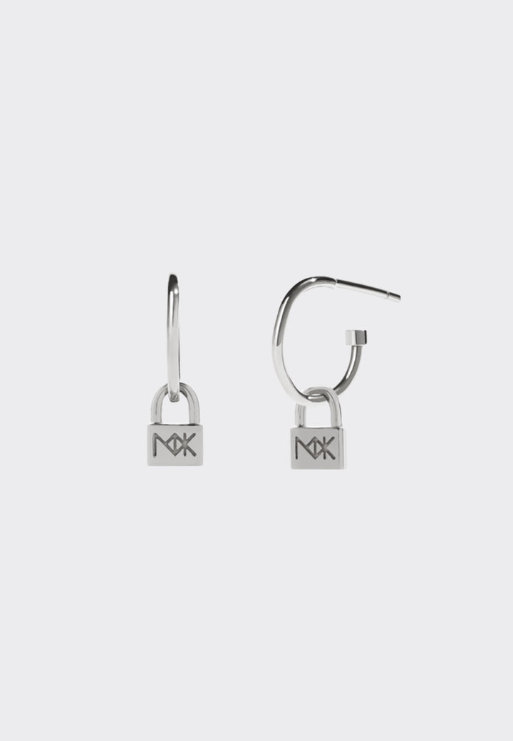 Micro Lock Signature Hoops - silver