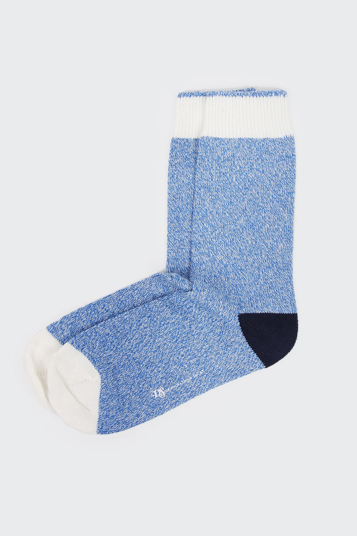 Democratique Relax Socks - melange contrast blue/broken white/navy | GOOD AS GOLD | NZ