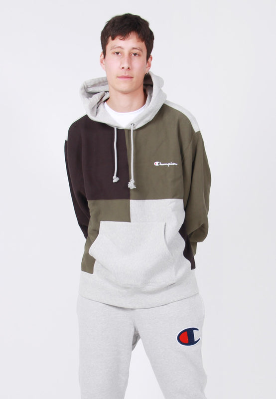 Champion Reverse Weave Colour Block Hoodie - grey/green – Good as Gold