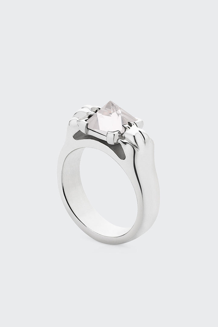 Meadowlark Cat Paw Pyramid Ring - silver/rose quartz | GOOD AS GOLD | NZ