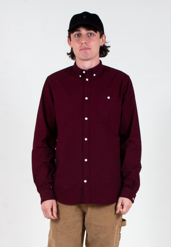 Norse Projects | Anton Oxford Shirt - mulberry red | Good As Gold, NZ