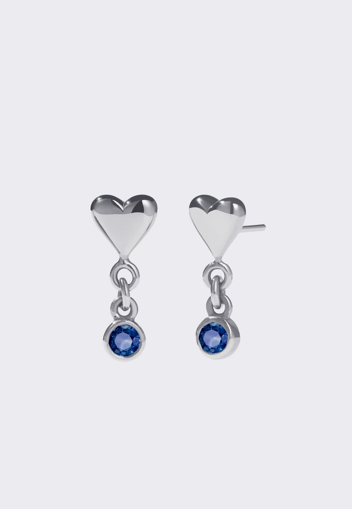 Camille Stud Earrings - silver/dark blue sapphire