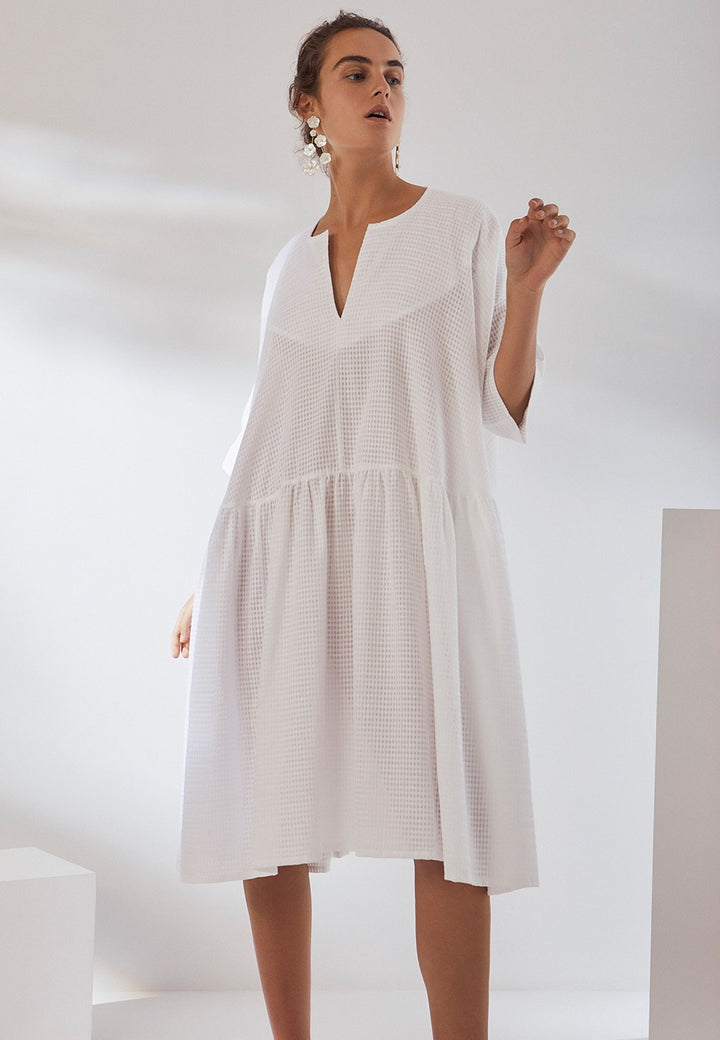 Kowtow | Sketchbook Dress - white check | Good As Gold, NZ