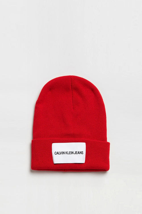 CK Jeans Beanie - high risk red