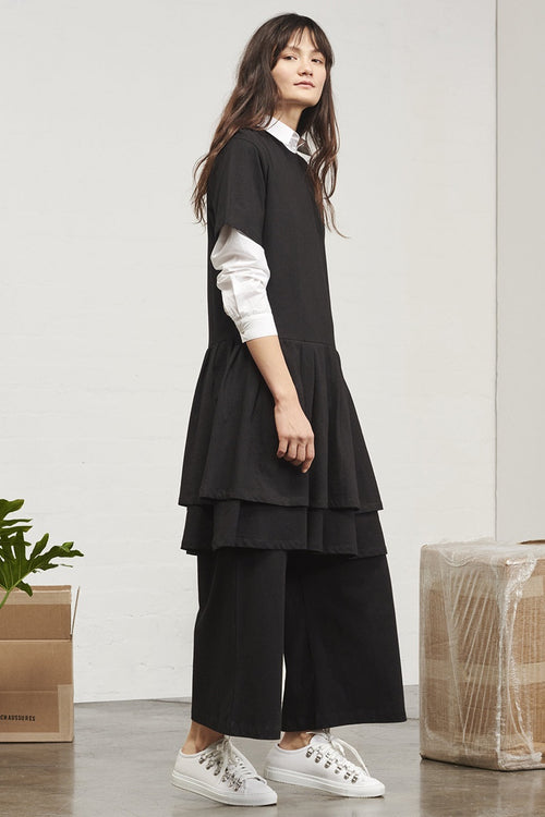 Kowtow Building Block Pleated Skirt Dress - black | GOOD AS GOLD | NZ