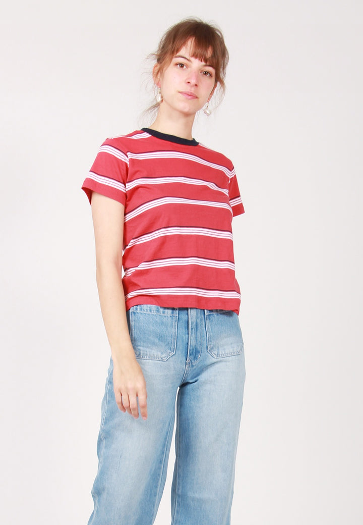 Rollas Stripe Crew T-Shirt - red - Good As Gold