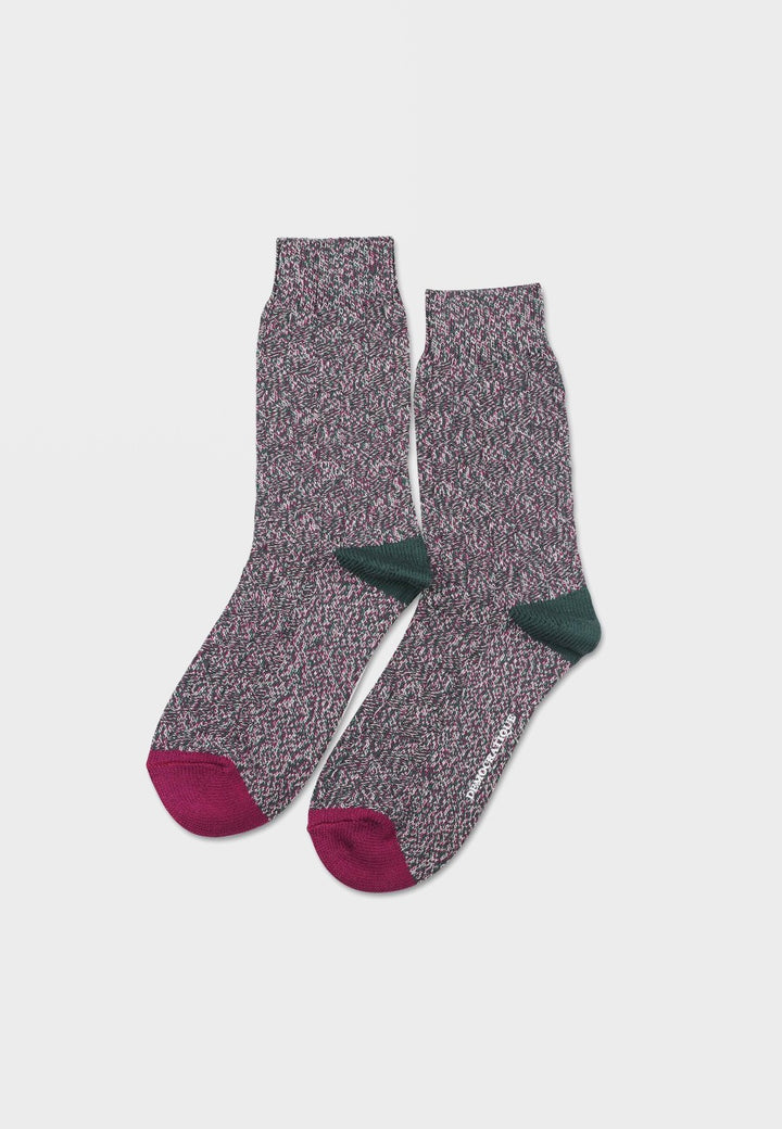 Democratique Relax 8 By 8 Weave Knit Supreme Socks - forest green/wild berry/off white - Good As Gold