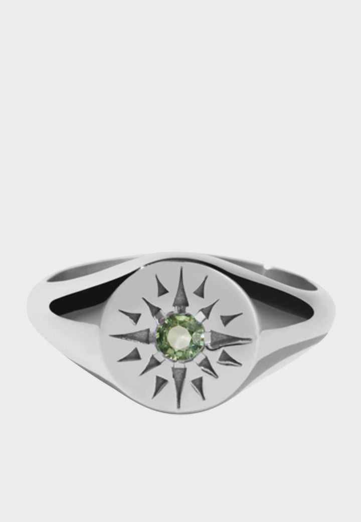 Meadowlark Ursa Signet Ring - silver/green sapphire - Good As Gold