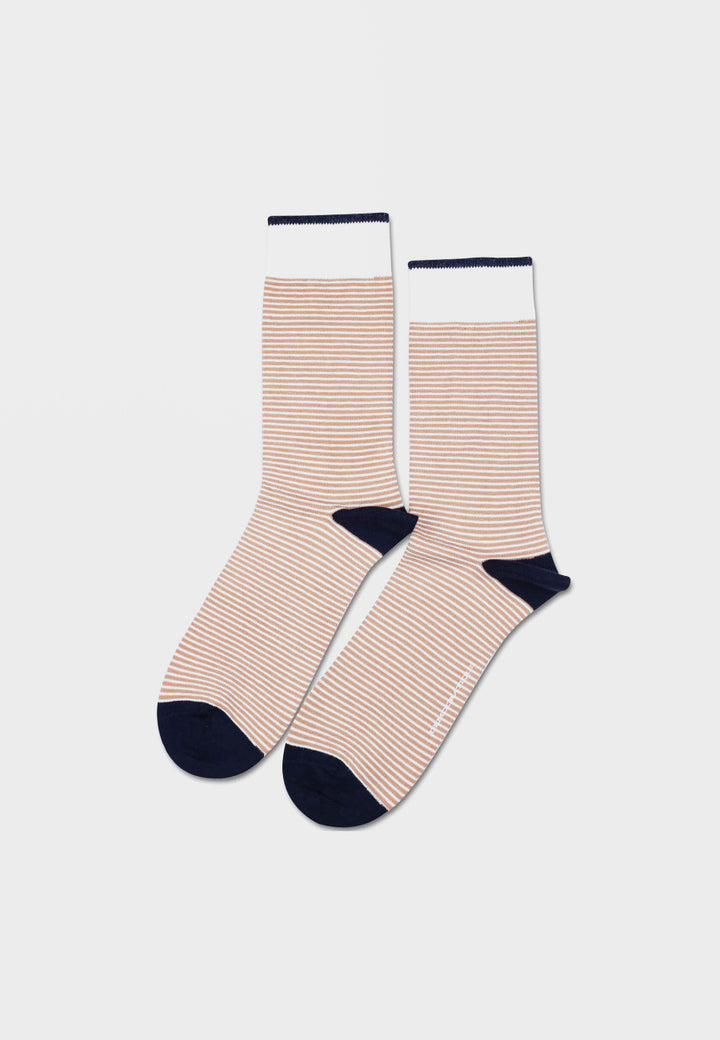 Democratique Original Mini Stripe Socks - dirty camel/off white/navy - Good As Gold