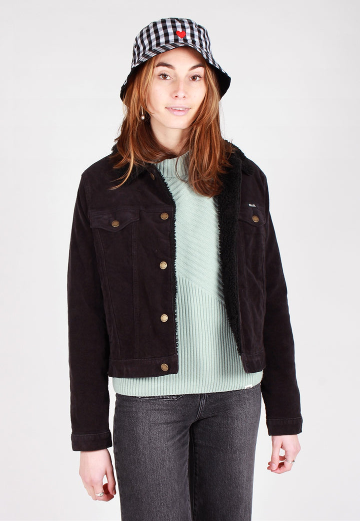 Rollas Womens Sherpa Jacket - black cord - Good As Gold
