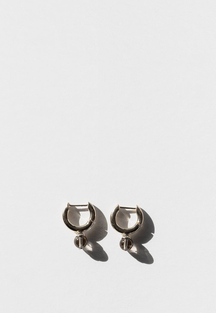 Jasmin Sparrow Audrey Hoop Earrings - silver/smokey quartz - Good As Gold